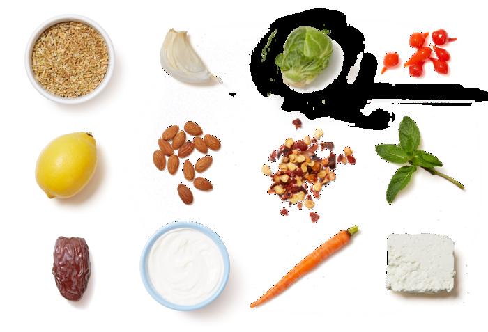 Roasted Brussels Sprout & Freekeh Salad with Lemon Yogurt & Barrel-Aged Feta