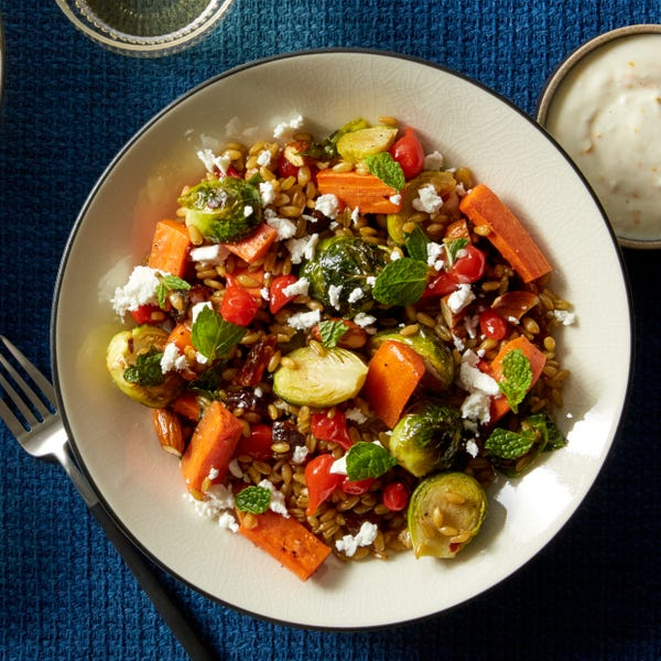 Roasted Brussels Sprout & Freekeh Salad with Lemon Yogurt & Barrel-Aged Feta