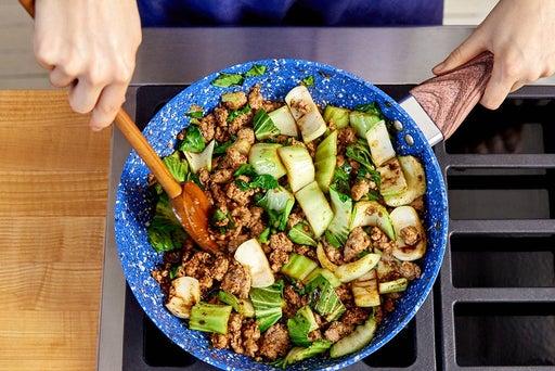 Add the bok choy & sauce