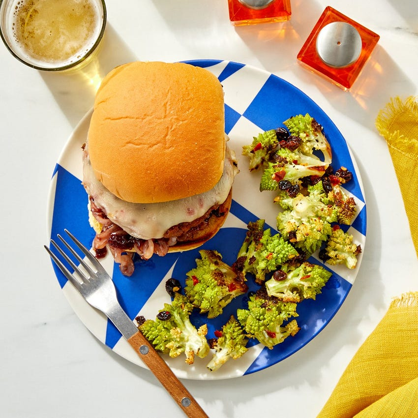 Fontina Beyond Burger™ with Sour Cherry Sauce & Spicy Lemon Cauliflower