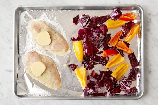 Prepare the chicken & vegetables: