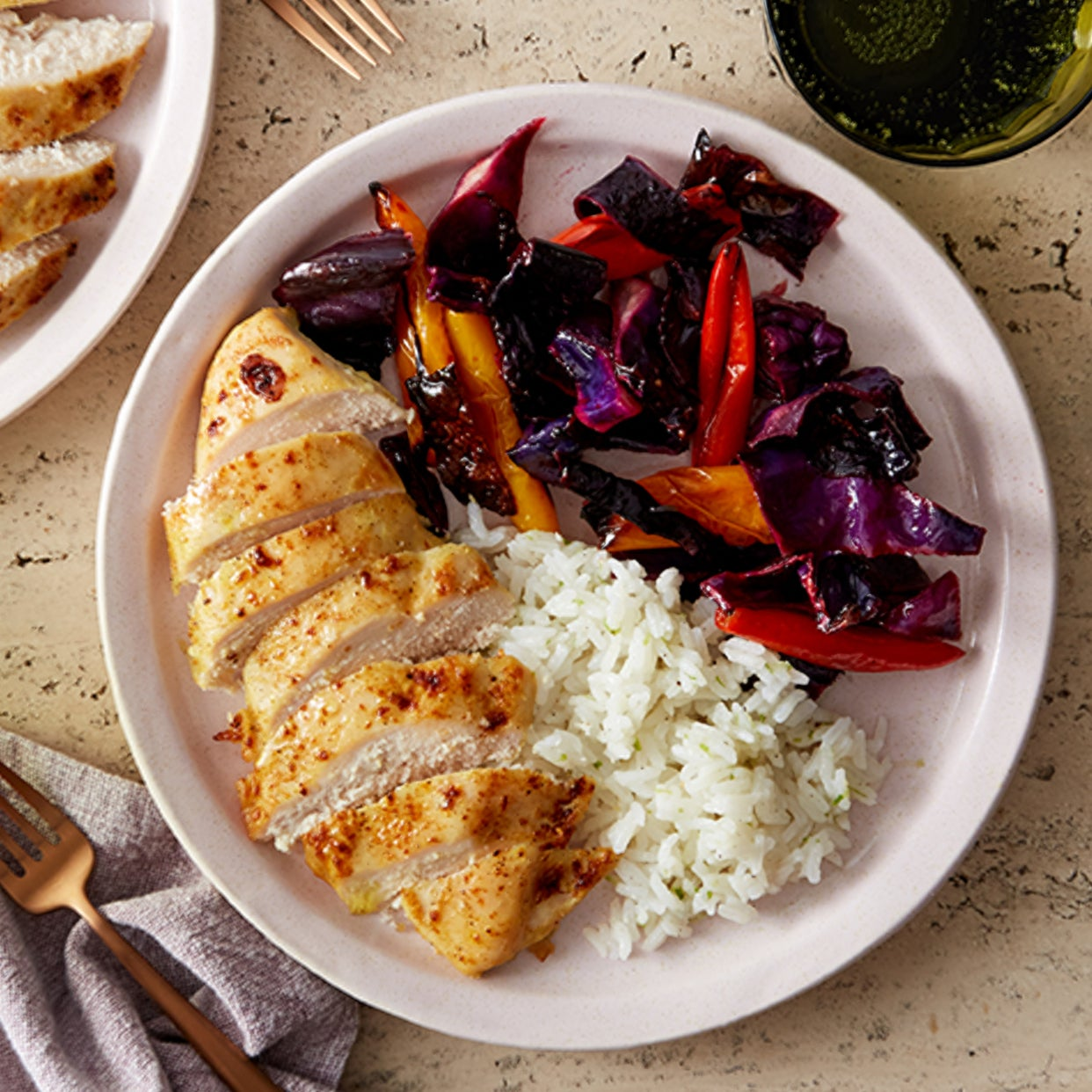 Baked Coconut Curry Chicken with Roasted Peppers & Cabbage
