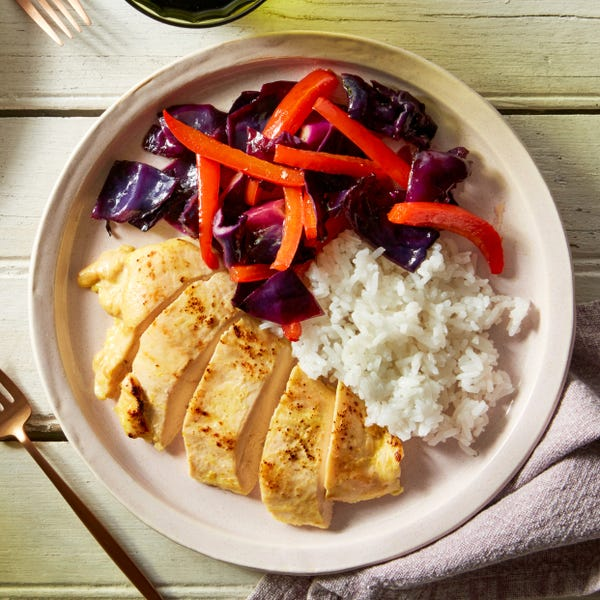 Baked Coconut Curry Chicken with Roasted Cabbage & Bell Pepper