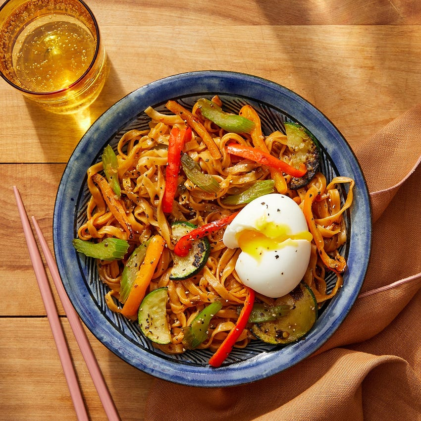 Wonton Noodle Stir-Fry with Soft-Boiled Eggs