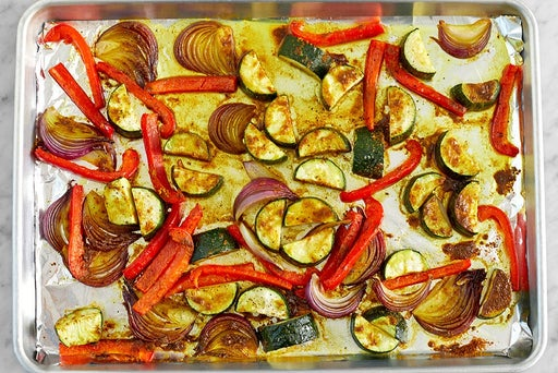 Roast the vegetables & finish the quinoa