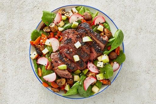 Finish & Serve the Togarashi Steak & Spinach Salad