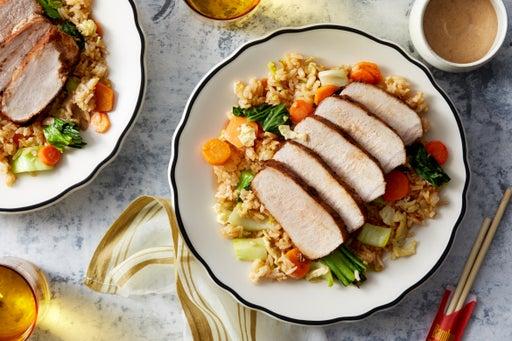Cumin & Sichuan Peppercorn-Glazed Pork with Vegetable Fried Rice