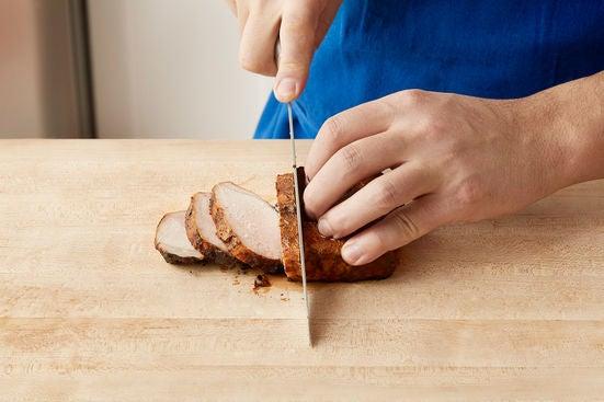 Slice the pork & serve your dish:
