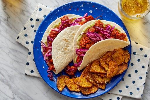 Zesty Pork Chorizo Tacos with Lime Mayo & Garlic-Cotija Potatoes