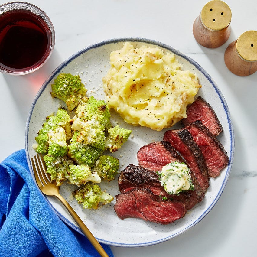 Seared Steaks & Chive Butter with Cheesy Potato Mash