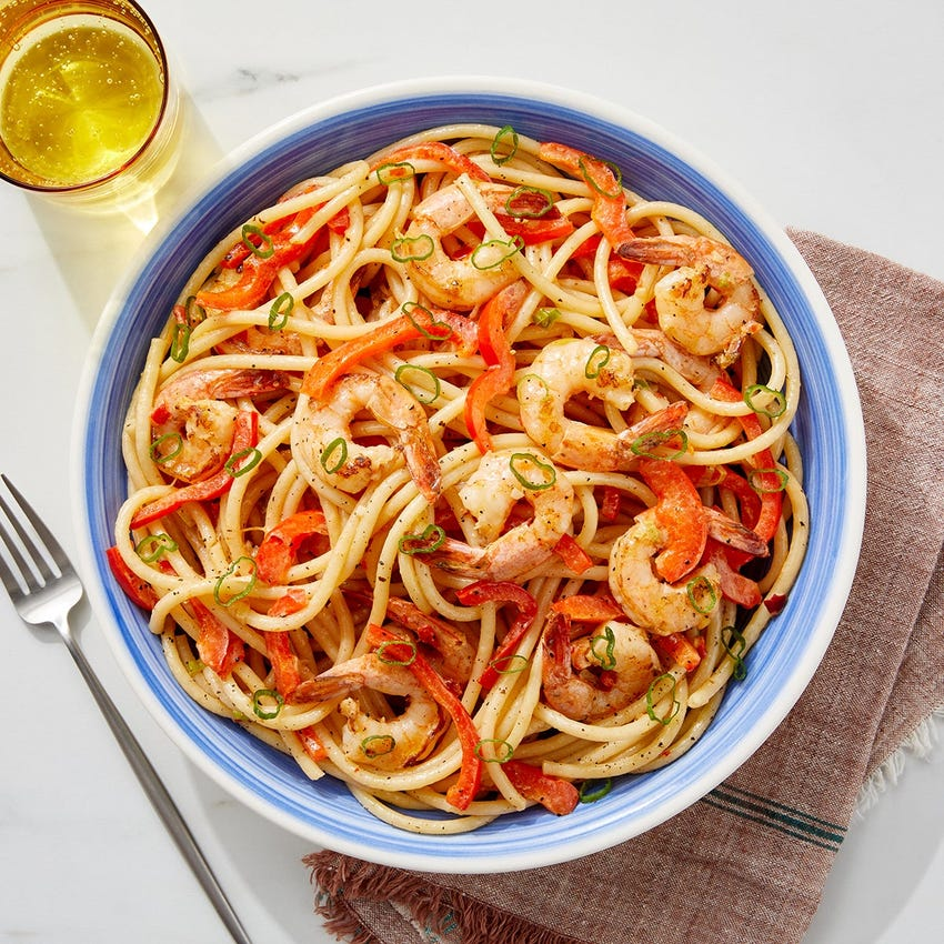 Zesty Shrimp & Bucatini Pasta with Bell Pepper