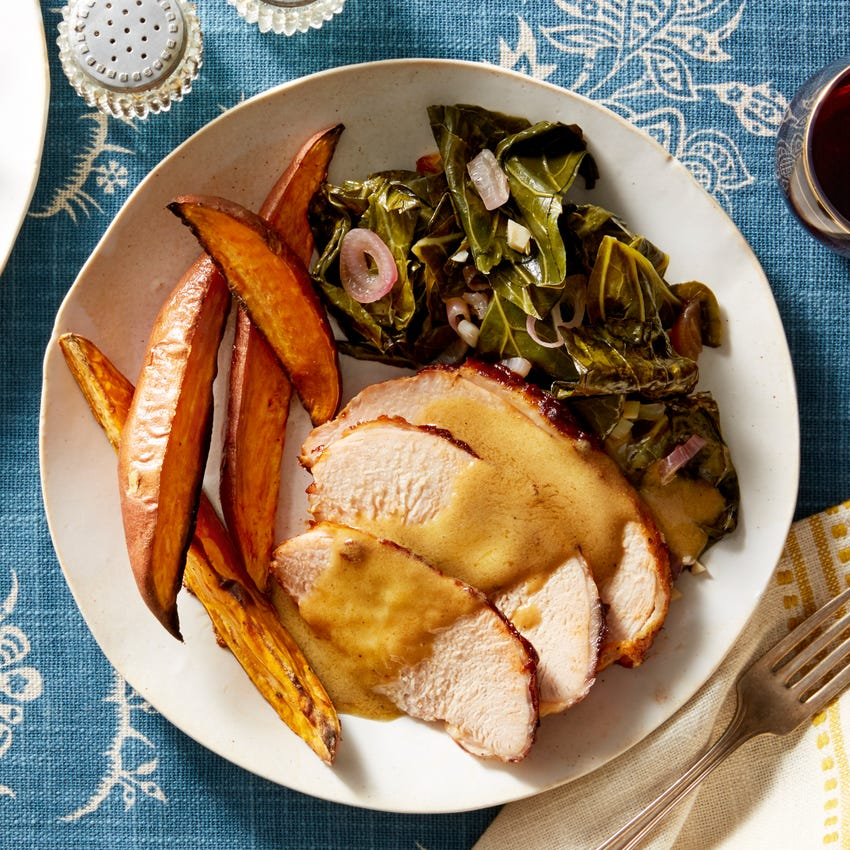 Barbecue-Glazed Turkey with Roasted Sweet Potatoes & Mustard Pan Sauce