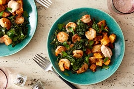 Garlic Butter Shrimp & Kale with Smoky Roasted Potatoes