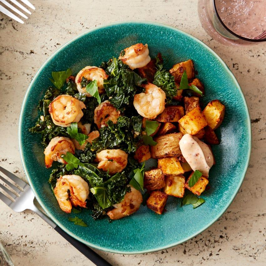 Garlic Butter Shrimp & Kale with Smoky Roasted Potatoes