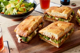 Broccoli & Basil Pesto Sandwiches with Romaine & Citrus Salad
