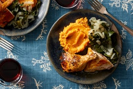 Roasted Chicken & Maple Butter with Mashed Sweet Potato & Collard Greens