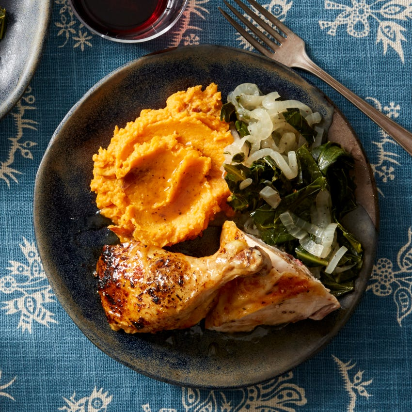 Recipe Roasted Chicken Maple Butter With Mashed Sweet Potato Collard Greens Blue Apron