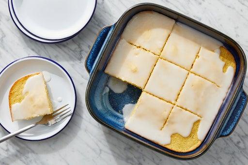 Almond Cornbread Cake with Lemon Glaze