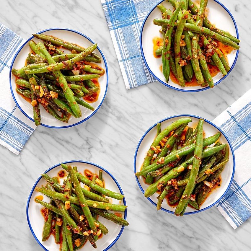 Garlic-Sesame Green Beans with Togarashi