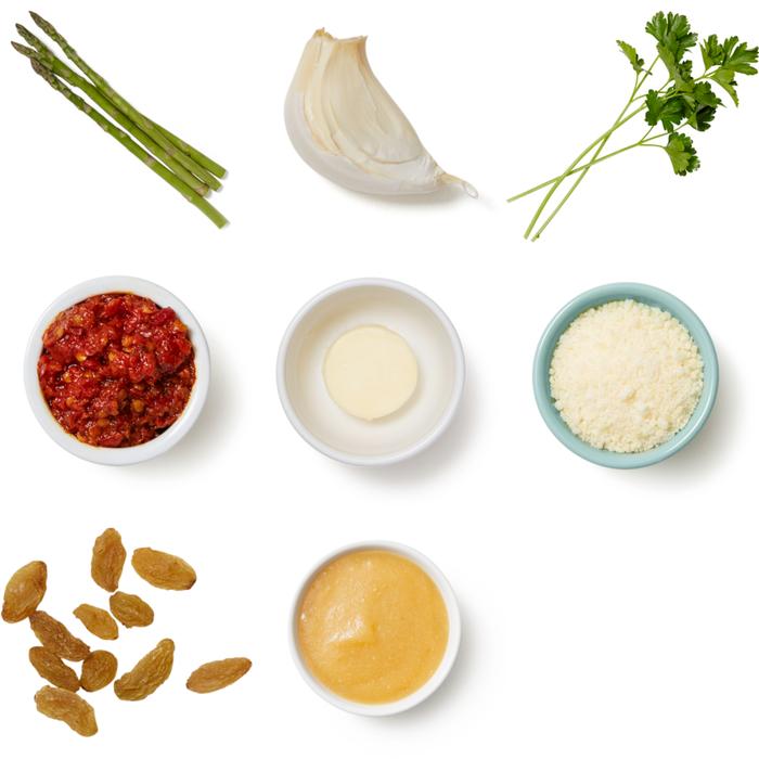 Charred Asparagus & Calabrian Compound Butter with Golden Raisins