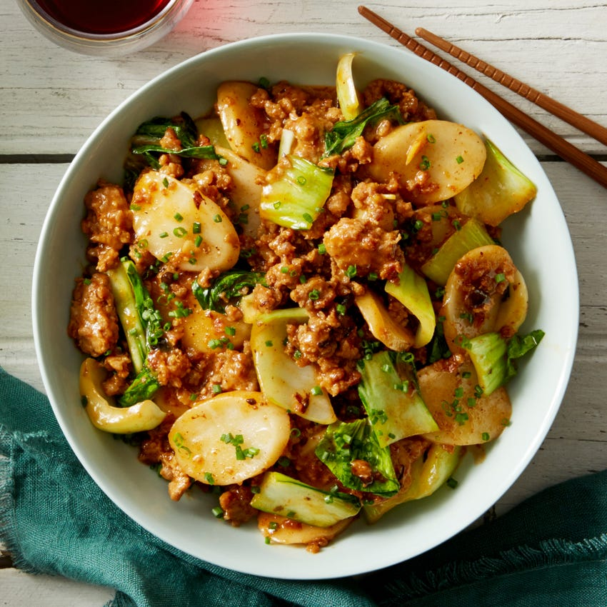 Recipe Spicy Pork Korean Rice Cakes With Bok Choy Blue Apron