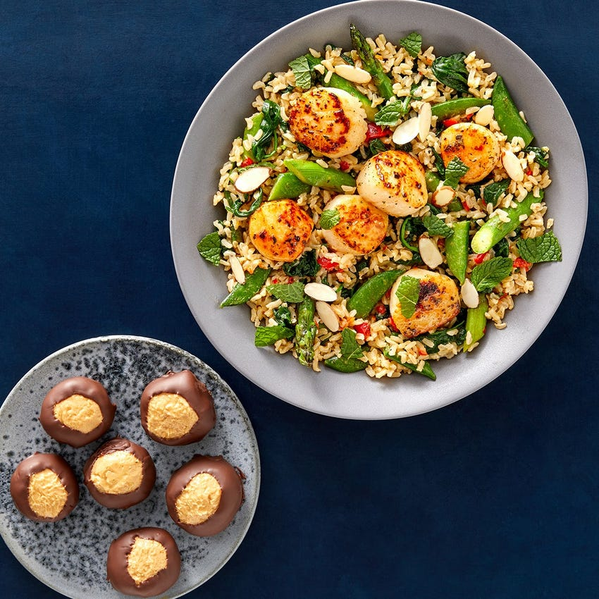 Mother's Day Lime Butter Scallops with Spring Vegetable Rice & Peanut Butter Buckeyes