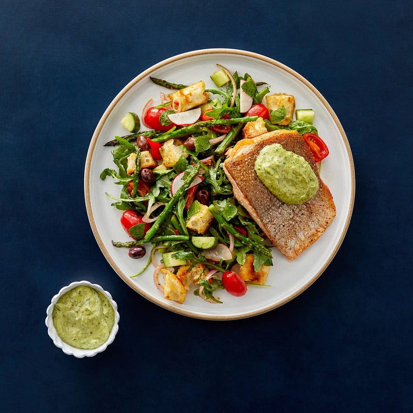 Steelhead Trout Fillets & Creamy Pesto with Arugula & Asparagus Panzanella Salad