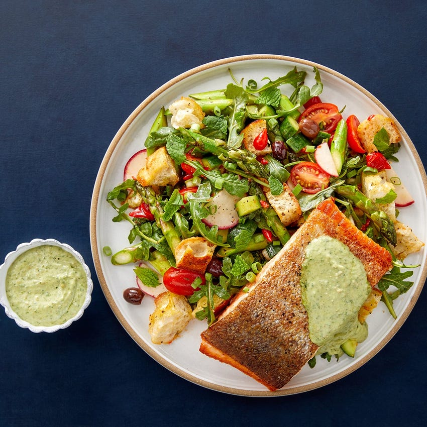 Steelhead Trout Fillets & Creamy Pesto with Arugula & Asparagus Panzanella Salad