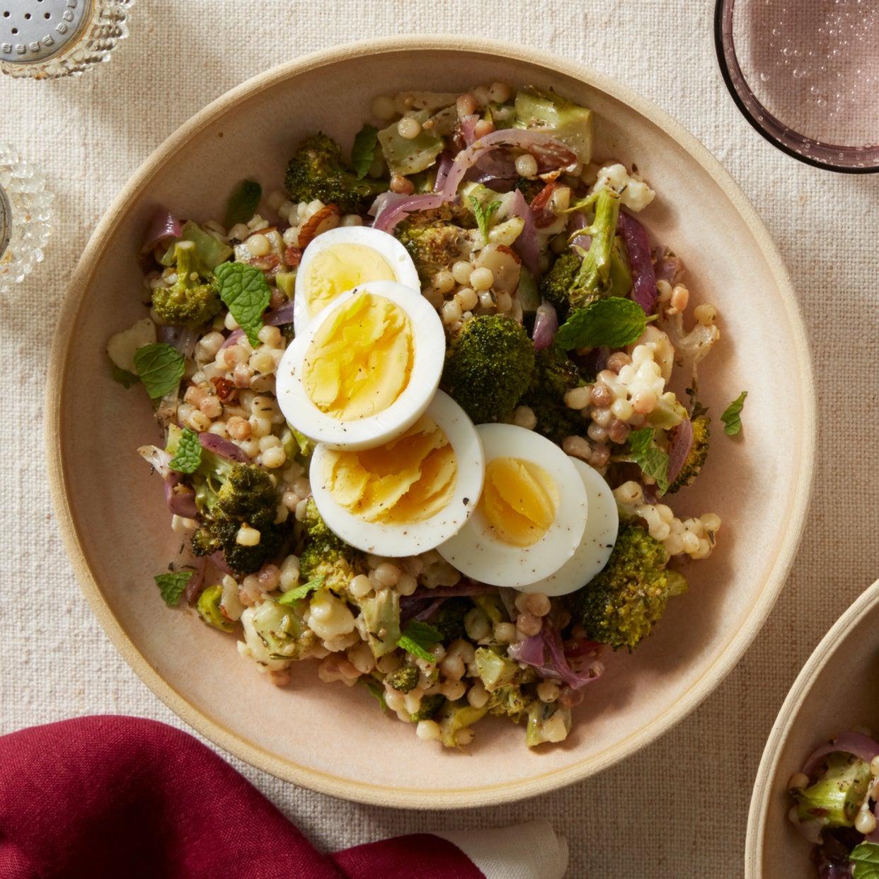 Roasted Broccoli & Fregola Sarda Salad with Za'atar & Tahini Dressing