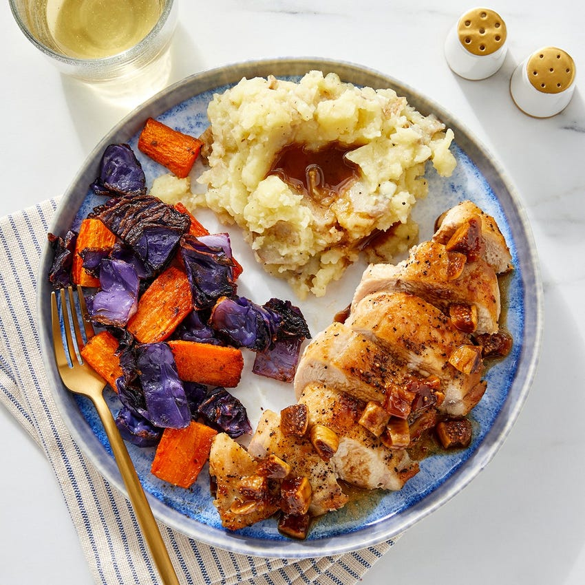 Fig-Balsamic Chicken with Mashed Potatoes & Roasted Vegetables