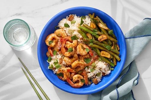Soy-Ginger Marinated Shrimp with Crispy Garlic & Lemongrass Rice