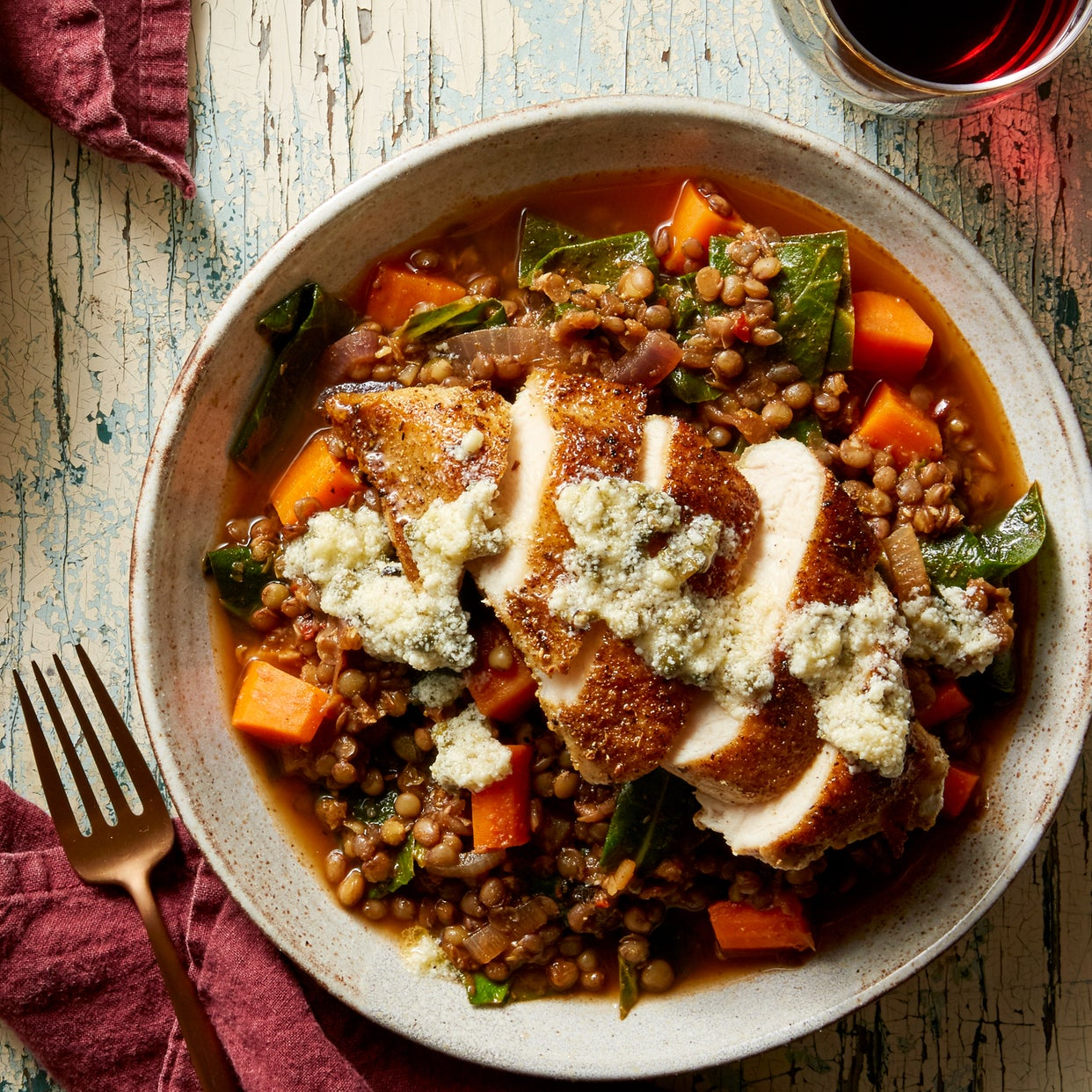Tuscan Chicken & Green Lentil Stew with Parmesan Cheese & Capers