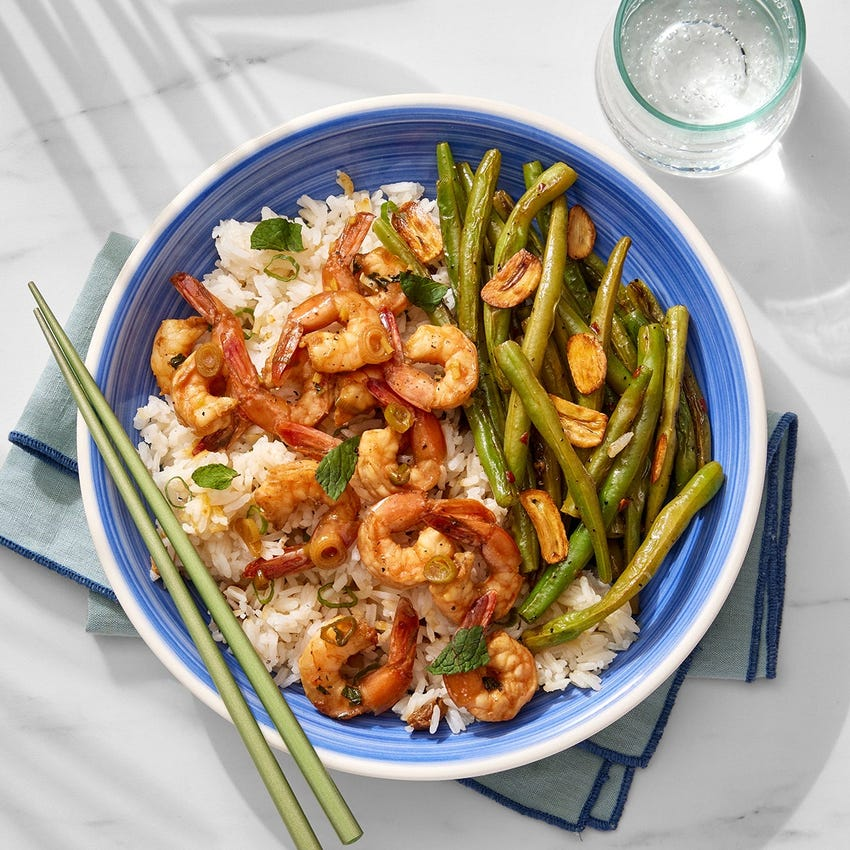 Soy-Ginger Marinated Shrimp with Crispy Garlic & Lemongrass Rice