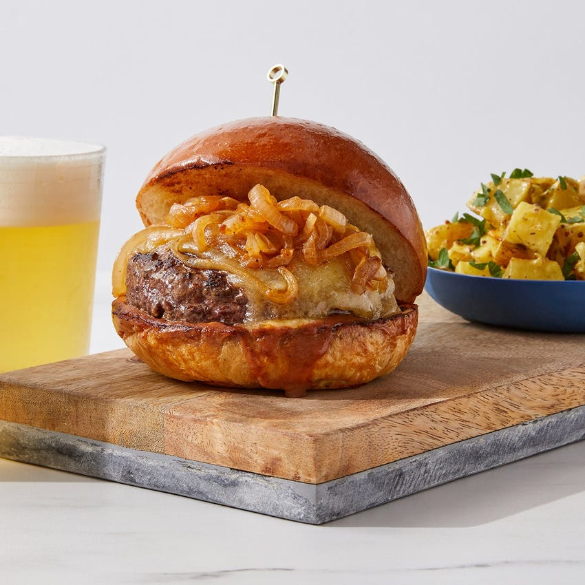 Cheddar & BBQ Mayo Burger with Potato Salad & Crispy Onions