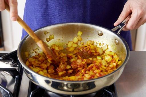 Cook the onion & garlic
