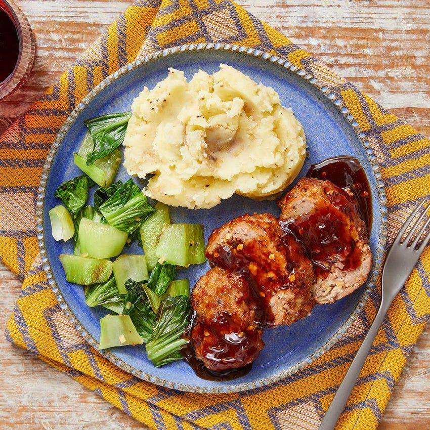 Hoisin-Glazed Pork Meatloaf with Sesame Mashed Potatoes & Bok Choy