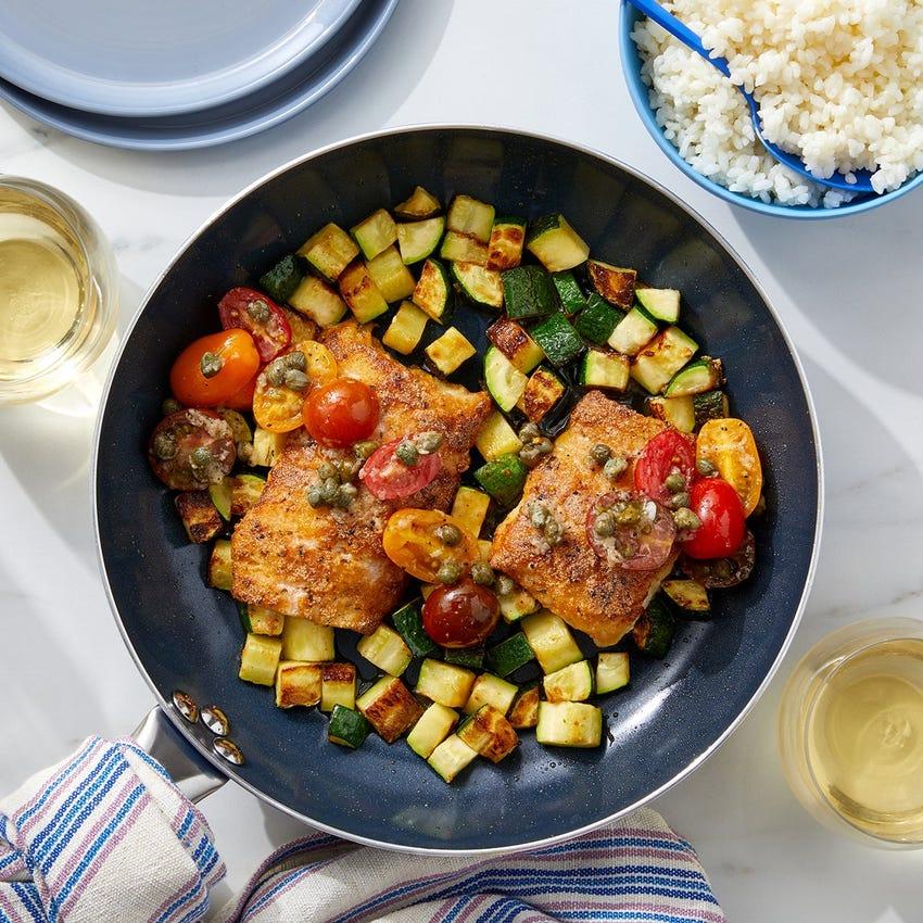 Seared Cod & Zucchini with Creamy Rice