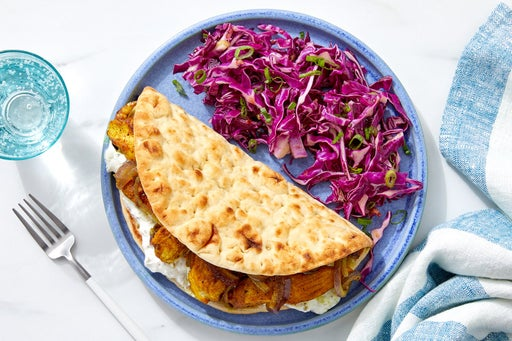 Vadouvan Chicken Pitas with Tzatziki & Cabbage Slaw