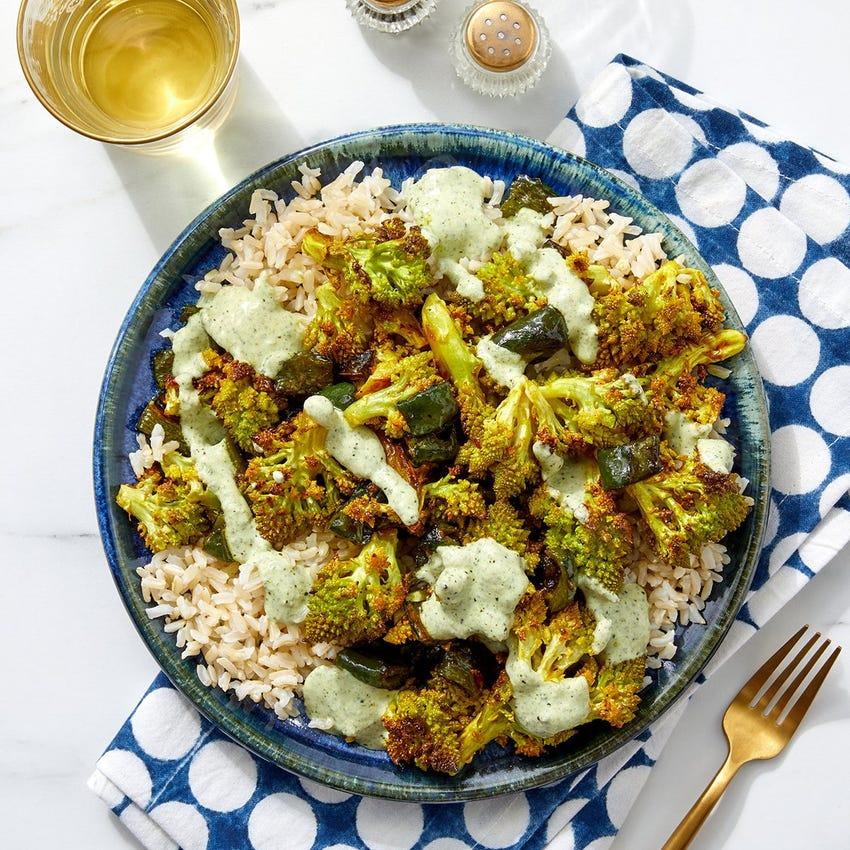 Curried Cauliflower with Brown Rice & Cilantro-Yogurt Sauce