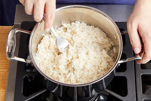 Make the coconut rice & serve your dish