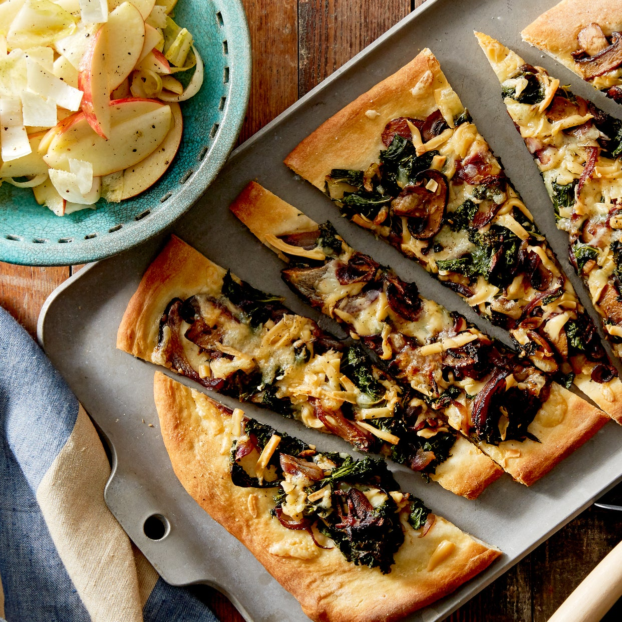 Smoked Gouda & Mushroom Flatbread with Endive & Apple Salad