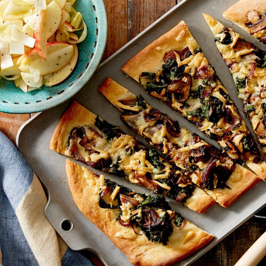 Smoked Gouda & Mushroom Flatbread with Endive & Apple Salad