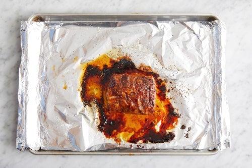 Make the glaze & roast the pork