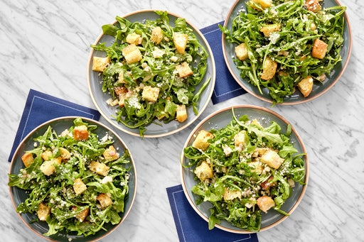 Arugula Salad with Garlic Croutons & Lemon Dressing