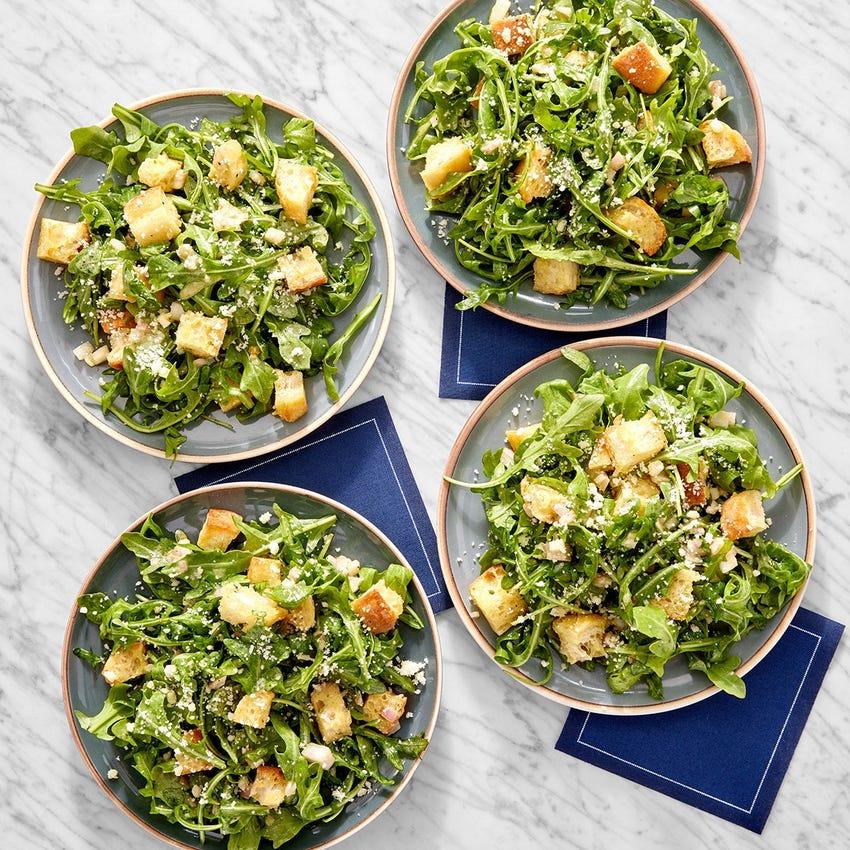 Arugula Salad with Garlic Croutons & Lemon Dressing