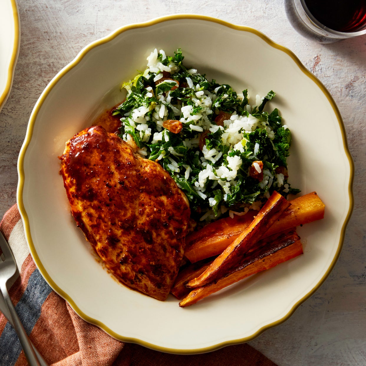 Ancho-Orange Chicken with Kale Rice & Roasted Carrots