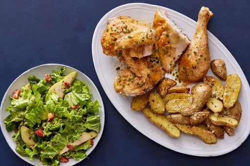 Pasture-Raised Roast Chicken & Rosemary-Lemon Sauce with Crispy Pancetta & Pear Salad