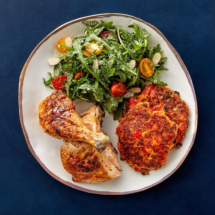 Pasture-Raised Chicken & Honey-Sherry Glaze with Fontina & Pepper Cornbread Pancakes