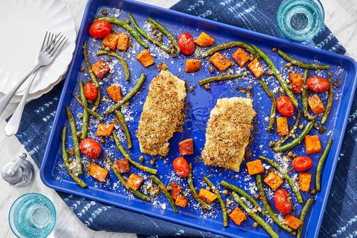 Sheet Pan Panko-Baked Cod with Tomatoes, Green Beans & Butternut Squash