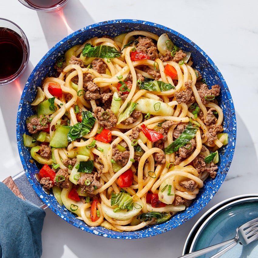One-Pan Beef & Udon Noodle Stir-Fry with Bok Choy & Bell Pepper